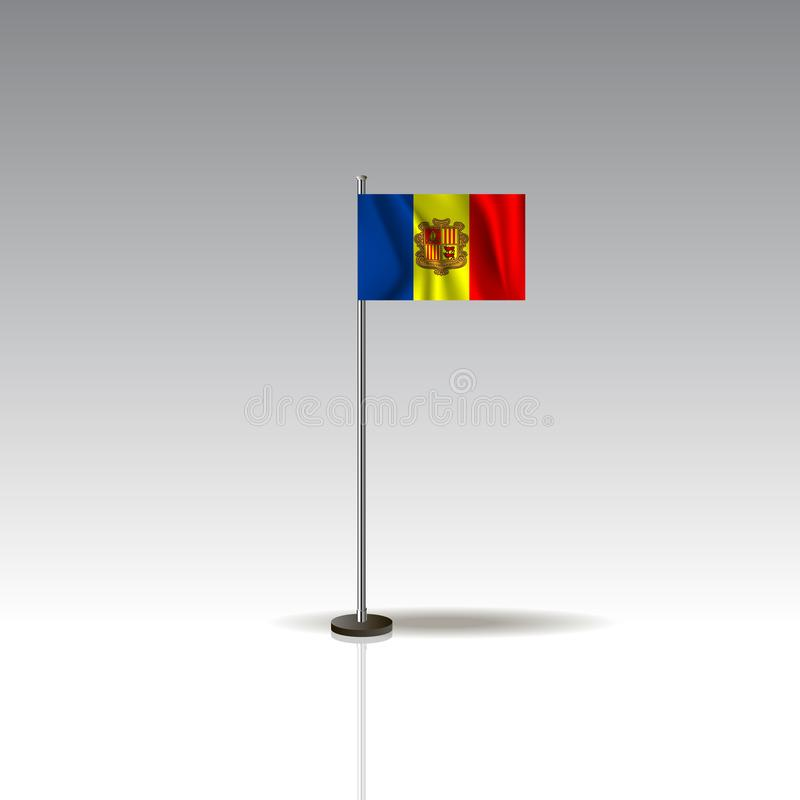 Flag Illustration of the country of ANDORRA. National ANDORRA flag isolated on gray background. Desktop flag image. National ANDORRA flag isolated on gray stock illustration