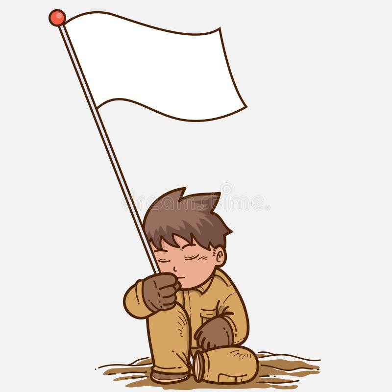 Flag. Illustration of man and flag royalty free illustration