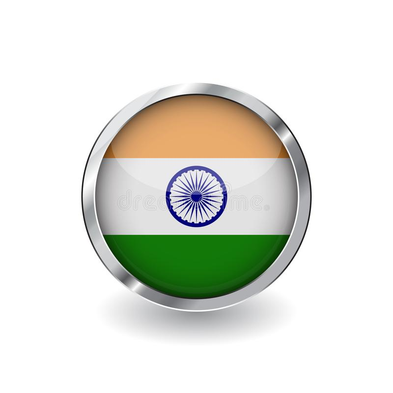 Flag of india, button with metal frame and shadow. india flag vector icon, badge with glossy effect and metallic border. Realistic stock illustration