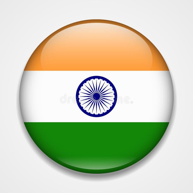 Flag of India. Round glossy badge stock illustration