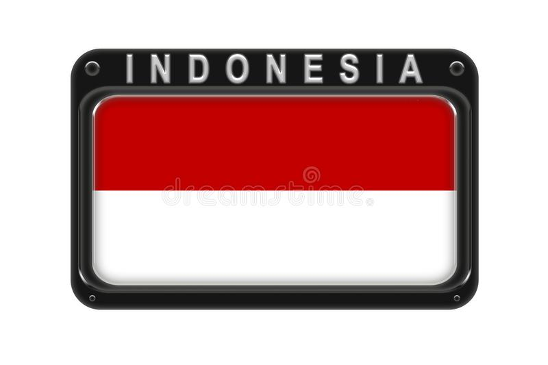 The flag of Indonesia in the frame with rivets on white background vector illustration