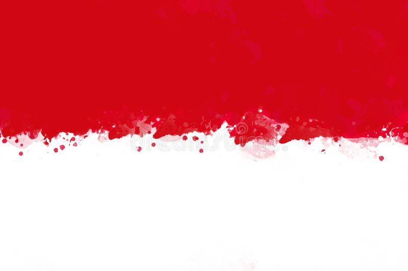 Flag of Indonesia by watercolor paint brush, grunge style stock illustration