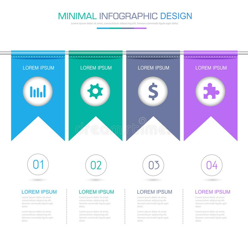 Flag Infographic Elements with business icon on full color background process or steps and options workflow diagrams,vector design. Eps10 illustration stock illustration