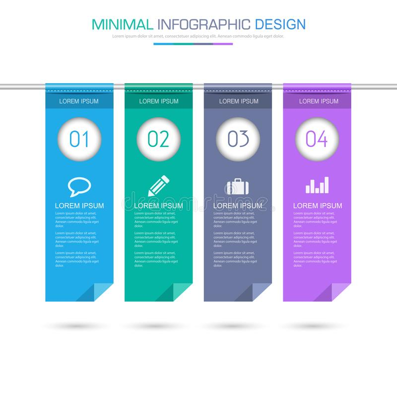 Flag Infographic Elements with business icon on full color background process or steps and options workflow diagrams,vector design. Eps10 illustration royalty free illustration