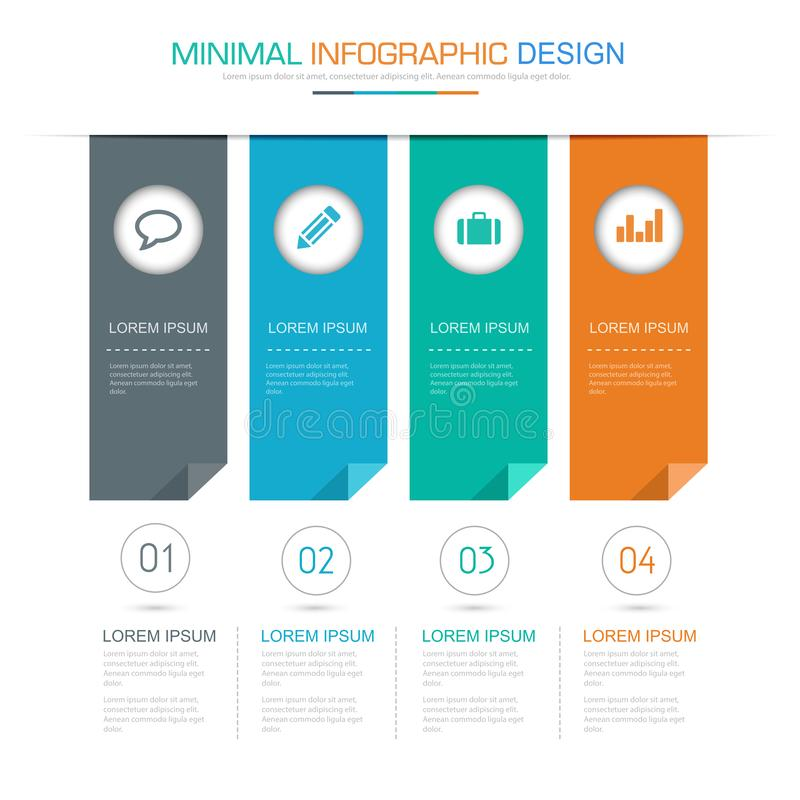 Flag Infographic Elements with business icon on full color background process or steps and options workflow diagrams,vector design. Eps10 illustration vector illustration