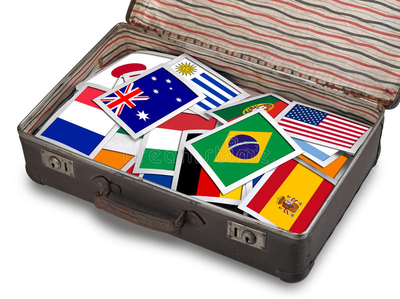 Download Flag Instant Photos On Antique Brown Suitcase Stock Photo - Image: 40403370