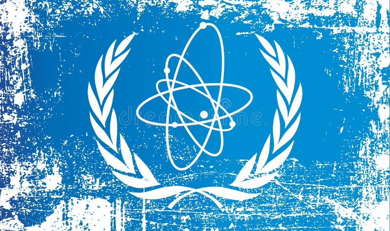 Flag Of The International Atomic Energy Agency. Wrinkled dirty spots. Can be used for design, stickers, souvenirs vector illustration