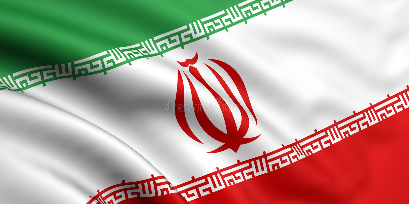 Flag Of Iran. 3d rendered and waving flag of iran