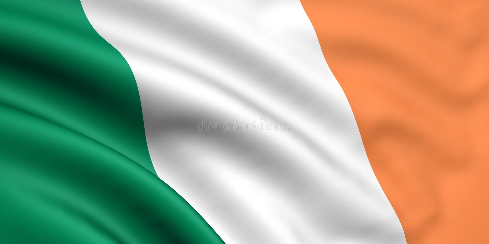 Flag Of Ireland. 3d rendered and waving flag of ireland