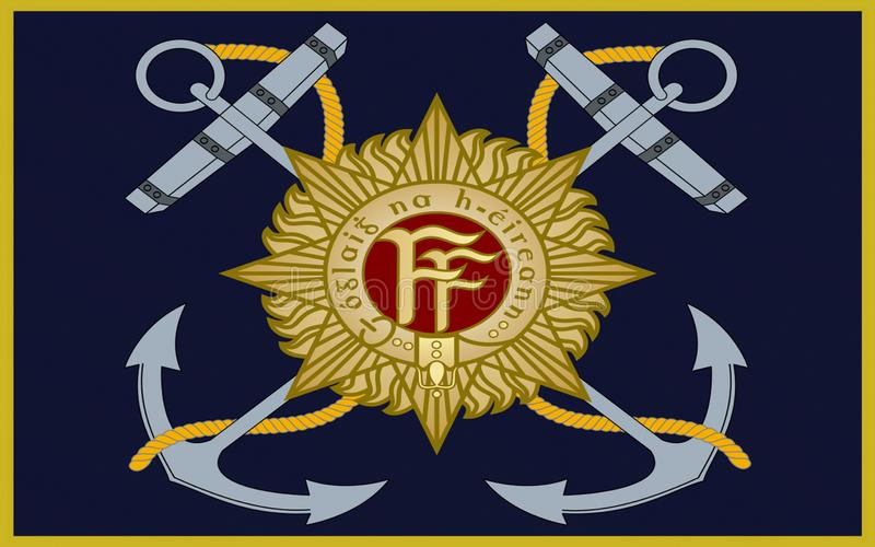 Flag Irish Naval Service. Flag Naval Service of Ireland, also known as the Republic of Ireland, is a sovereign state in north-western Europe occupying about five stock illustration