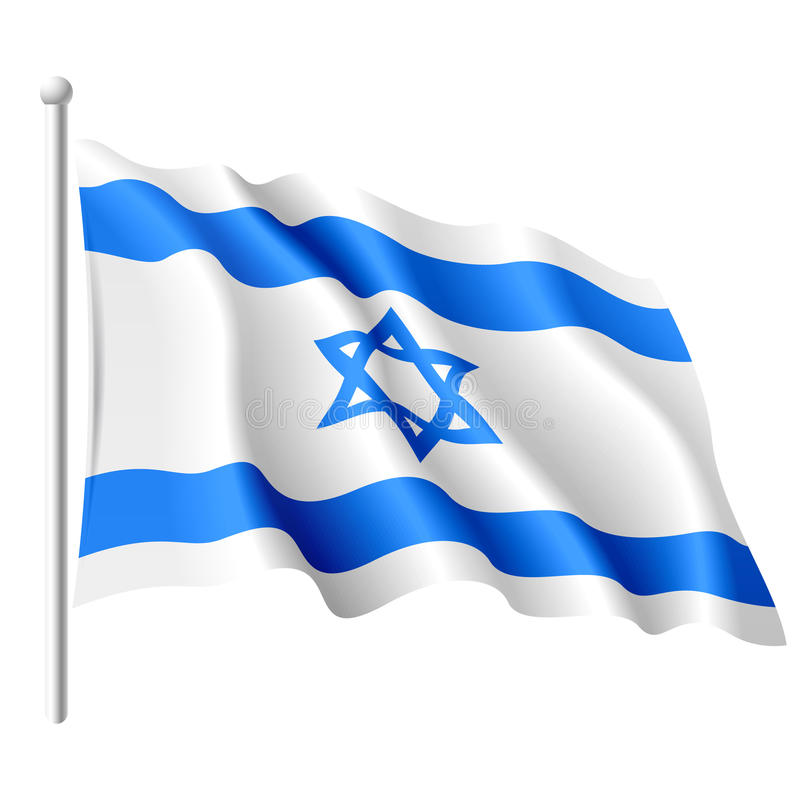 Flag of Israel. Vector illustration of a flying flag of Israel vector illustration