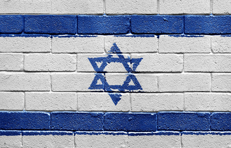 Flag of Israel on brick wall stock photography