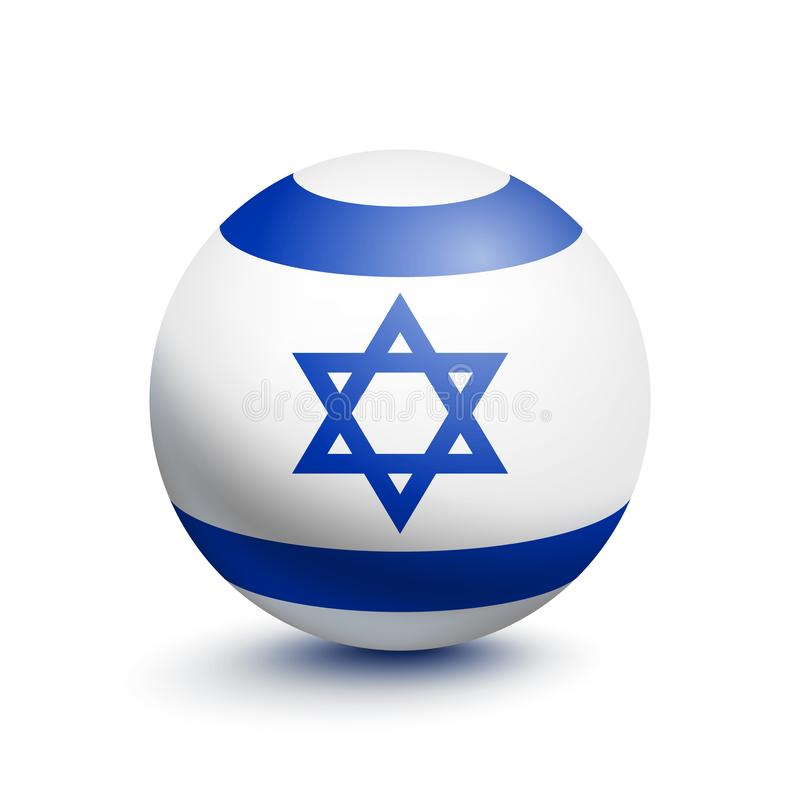 Flag of Israel in the form of a ball. Isolated on a white background. Vector illustration royalty free illustration
