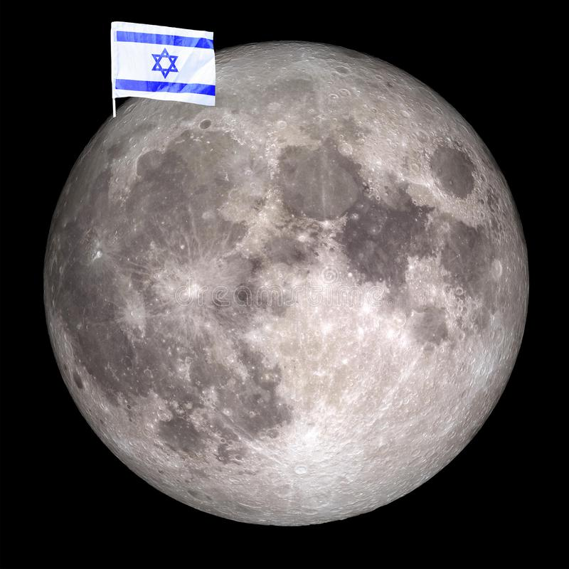 Flag Israel on the moon.Elements of this image furnished by NASA. stock photography