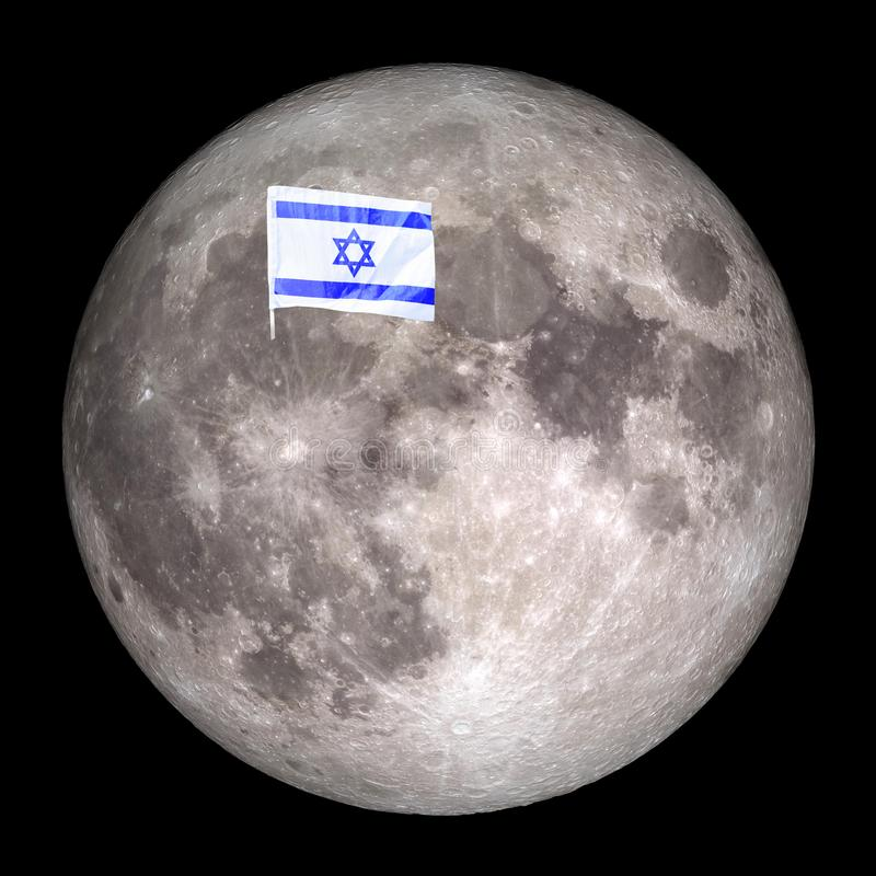 Flag Israel on the moon.Elements of this image furnished by NASA. stock photos
