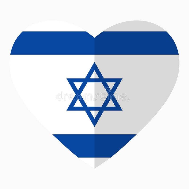 Flag of Israel in the shape of Heart, flat style, symbol of love stock illustration