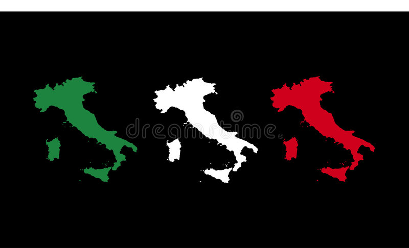 Flag of Italy with 3 map vector illustration