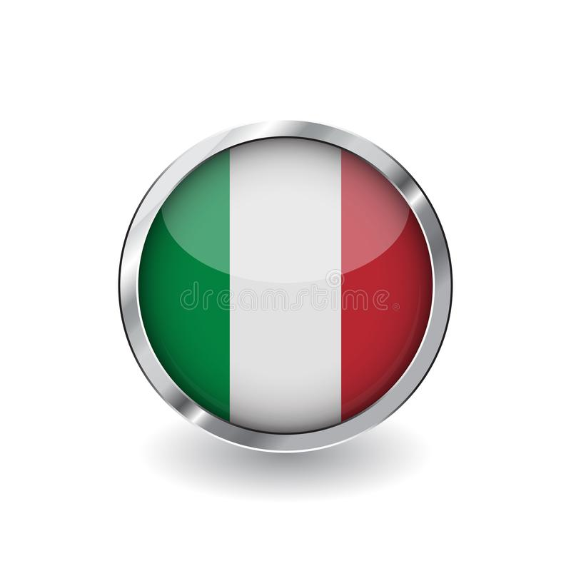 Flag of italy, button with metal frame and shadow. italy flag vector icon, badge with glossy effect and metallic border. Realistic. Vector illustration on white royalty free illustration