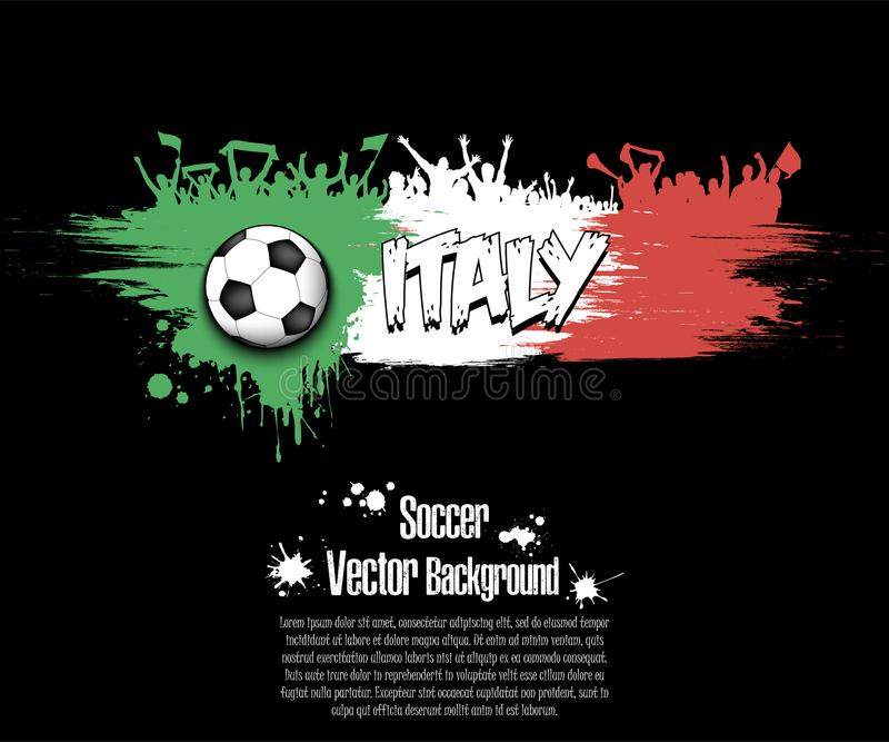 Flag of Italy and football fans stock illustration