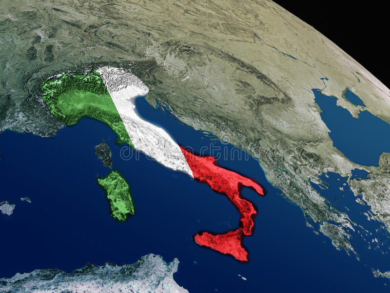 Download Flag of Italy from space stock illustration. Image of europe - 83720584