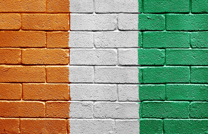 Flag of Ivory Coast on brick wall