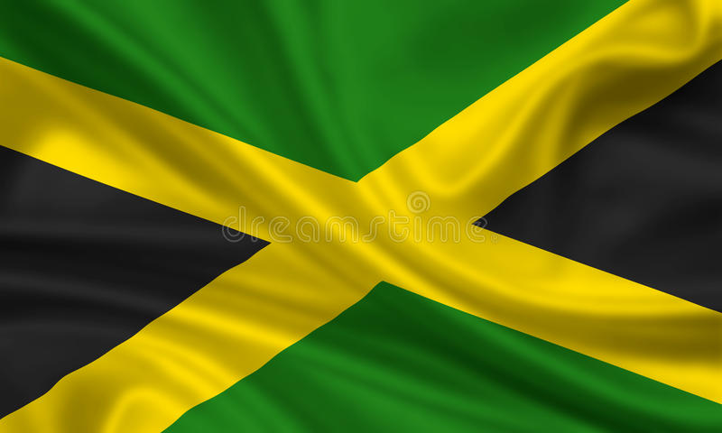 Flag of Jamaica. 3d rendered flag of jamaica royalty free illustration