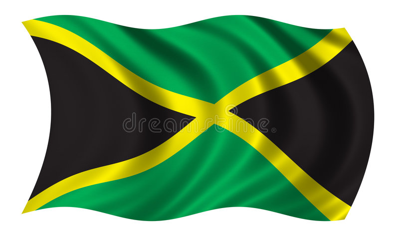 Flag of Jamaica. Waving in the wind stock illustration
