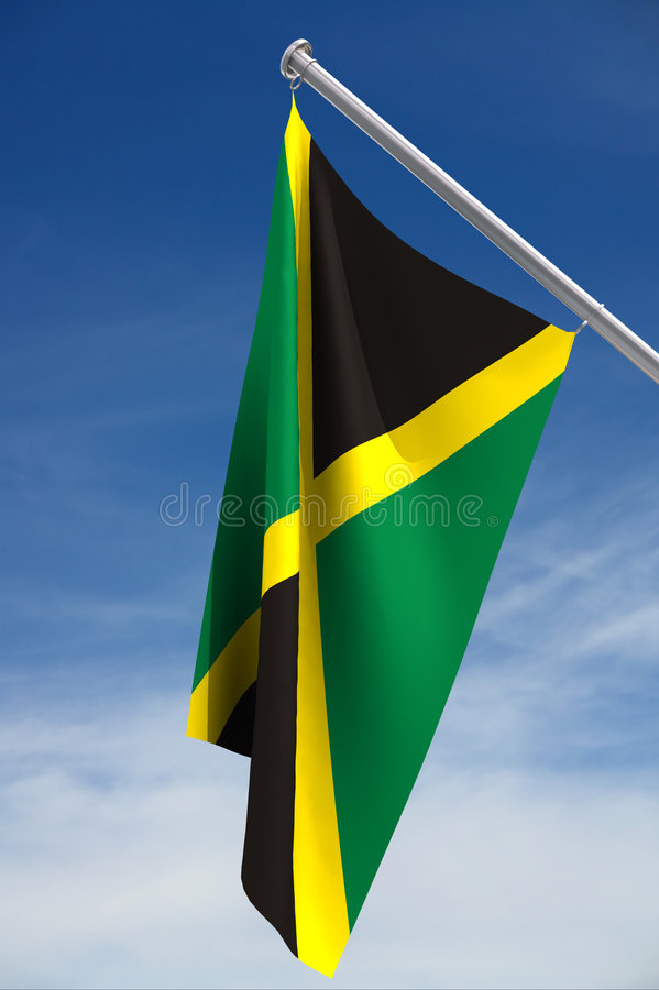 Flag of Jamaica. A view of the green, yellow and black national flag of Jamaica on a flag pole against a blue sky. Clipping path available stock illustration