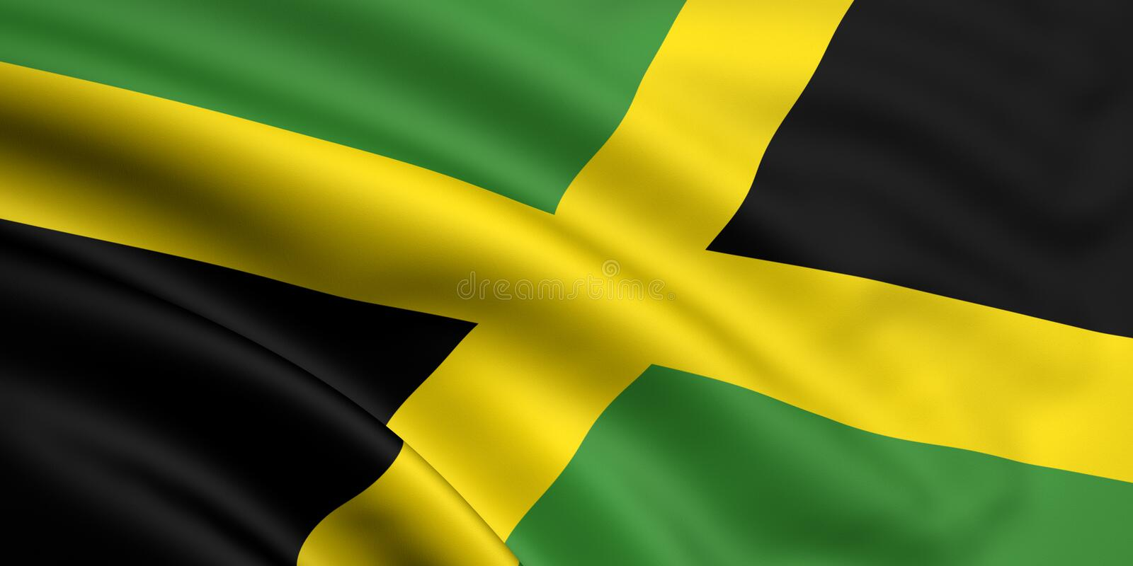 Flag Of Jamaica. 3d rendered and waving flag of jamaica