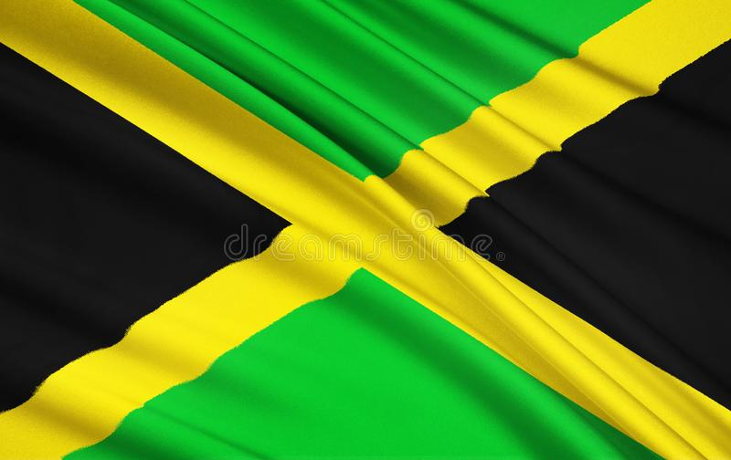 Flag of Jamaica, Kingston. Flag of Jamaica - adopted on 6th August 1962, the original Jamaican Independence Day, the country having gained independence from the royalty free illustration