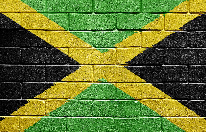 Flag of Jamaica on brick wall royalty free stock photography
