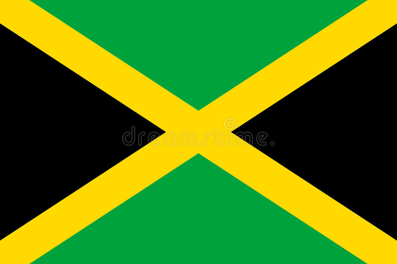 Flag Jamaica flat icon. State insignia of the nation in flat style on the entire page. National symbol in the form of a vector illustration royalty free illustration