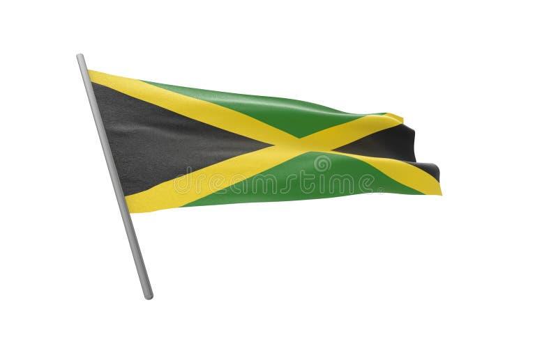 Flag of Jamaica. Illustration of a waving flag of Jamaica. 3d rendering stock illustration