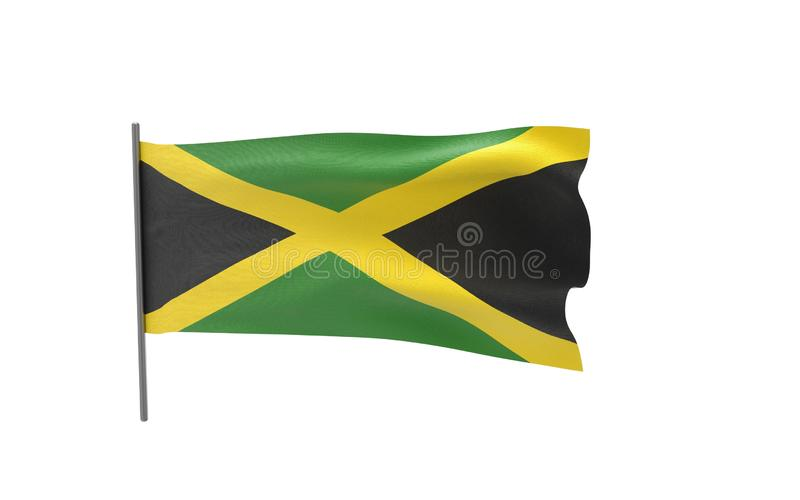 Flag of Jamaica. Illustration of a waving flag of Jamaica. 3d rendering royalty free illustration