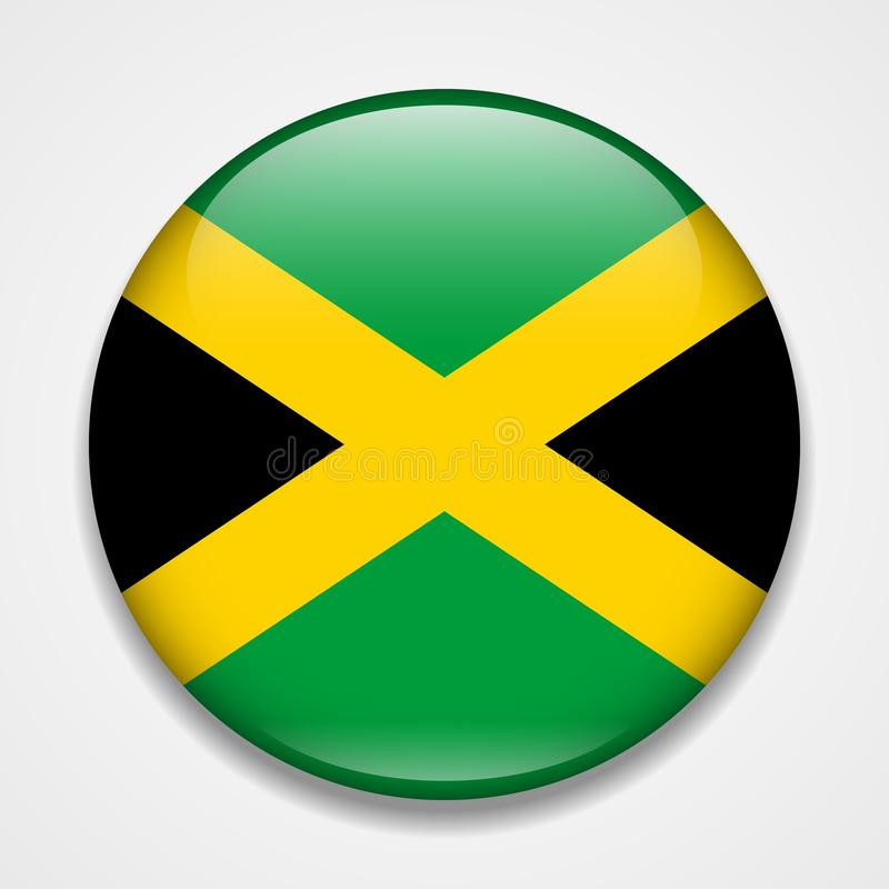 Flag of Jamaica. Round glossy badge.  vector illustration