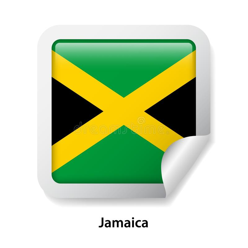 Flag of Jamaica. Round glossy sticker.  vector illustration