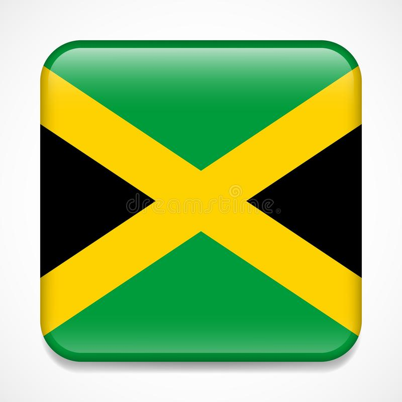 Flag of Jamaica. Square glossy badge.  vector illustration