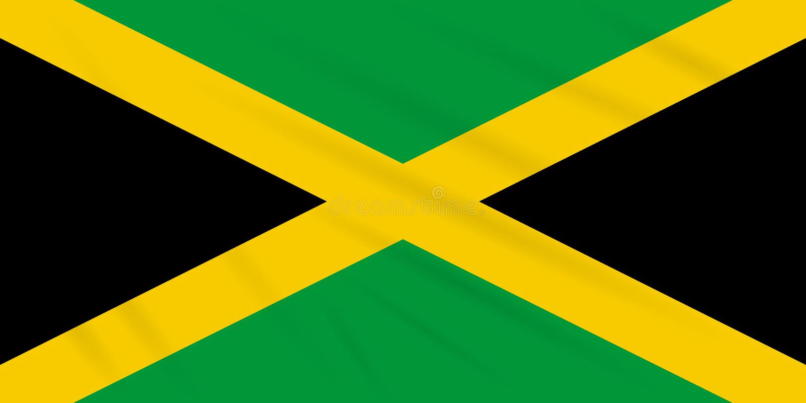 Flag Jamaica swaying in wind, realistic vector.  royalty free illustration