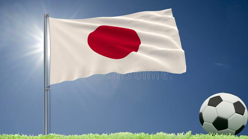 Flag of Japan fluttering and a football rolls on the lawn, 3d rendering. royalty free illustration