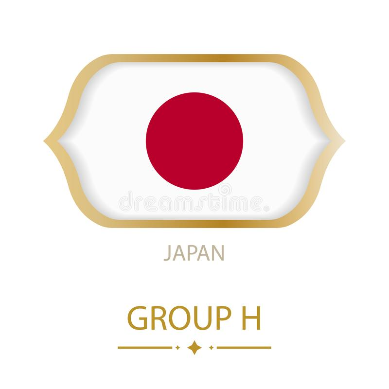 The flag of Japan is made in the style of the Football World Cup stock illustration