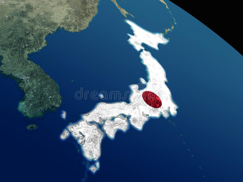 Download Flag of Japan from space stock illustration. Image of geography - 83721566