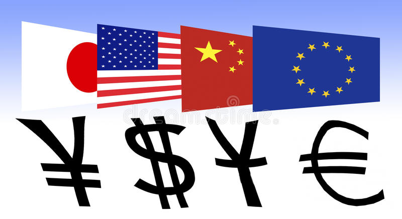 Flag Of Japan The Us China And Europe Stock Illustration