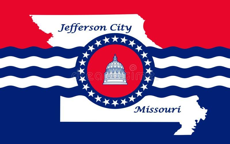 Flag of Jefferson City in Missouri, USA. Flag of Jefferson City is the capital of the U.S. state of Missouri royalty free stock image
