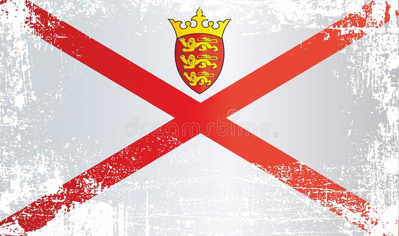 Flag of Jersey, Bailiwick of Jersey. Wrinkled dirty spots. Can be used for design, stickers, souvenirs stock illustration