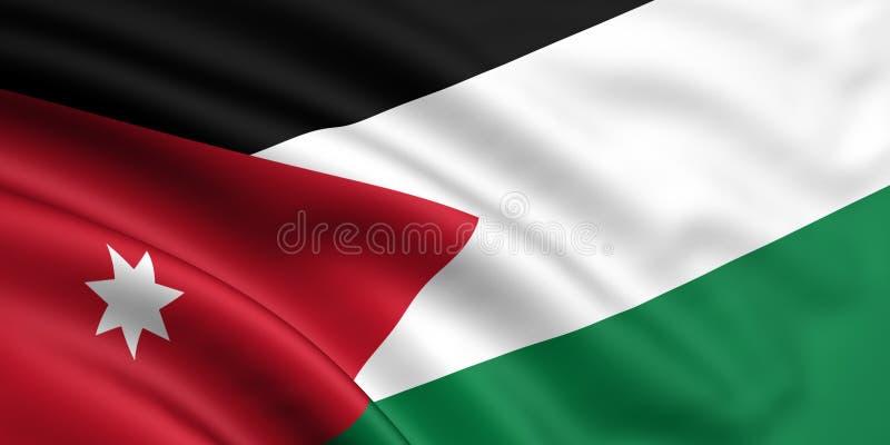 Flag Of Jordan. 3d rendered and waving flag of jordan royalty free illustration