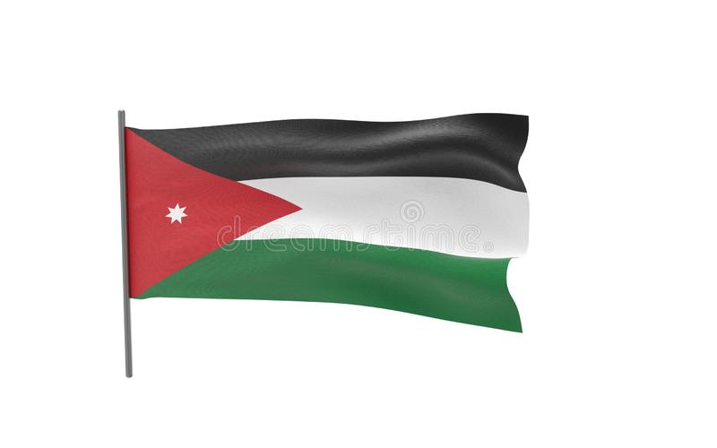 Flag of Jordan. Illustration of a waving flag of Jordan. 3d rendering royalty free illustration