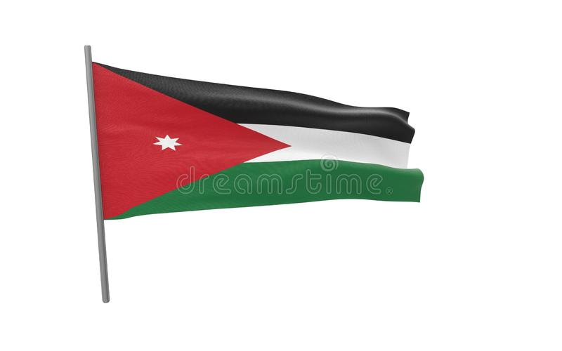 Flag of Jordan. Illustration of a waving flag of Jordan. 3d rendering stock illustration