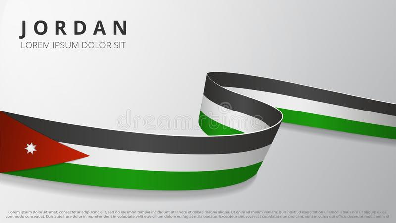 Flag of Jordan. Realistic wavy ribbon with Jordanian flag colors. Graphic and web design template. National symbol. Independence day poster. Abstract royalty free illustration