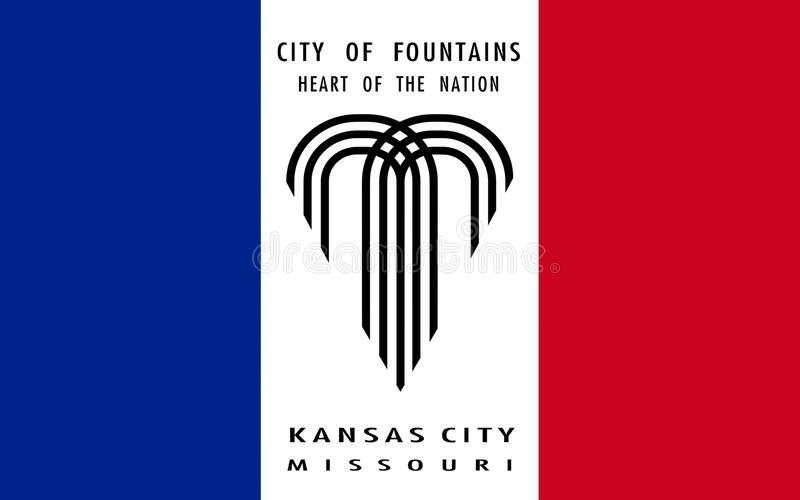 Flag of Kansas City in Missouri, USA stock images