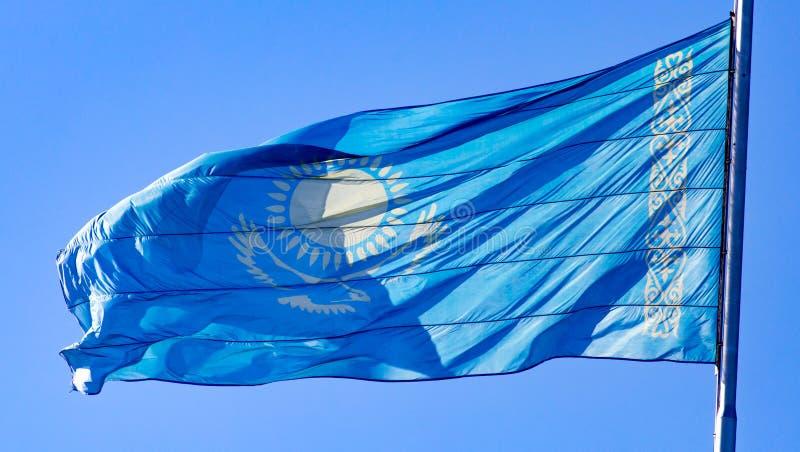 Flag of Kazakhstan against the blue sky stock images